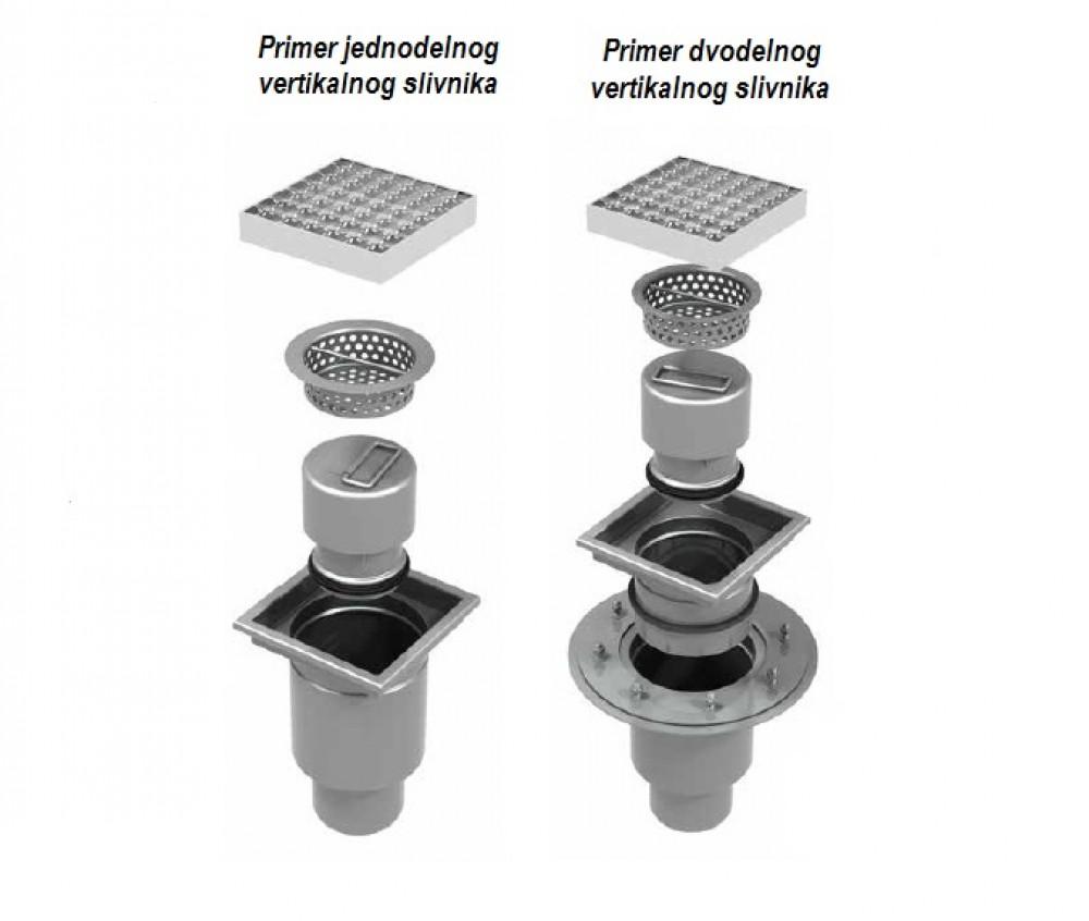 Vertikalni jednodelni slivnik od nerđajućeg čelika